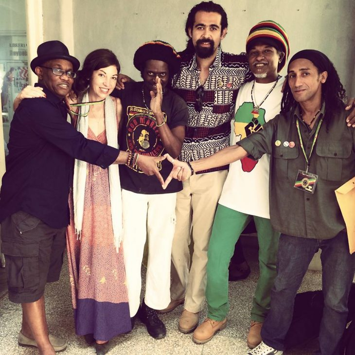 Michael Thompson with Anicee Gaddis and friends at a Reggae conference in Cuba.